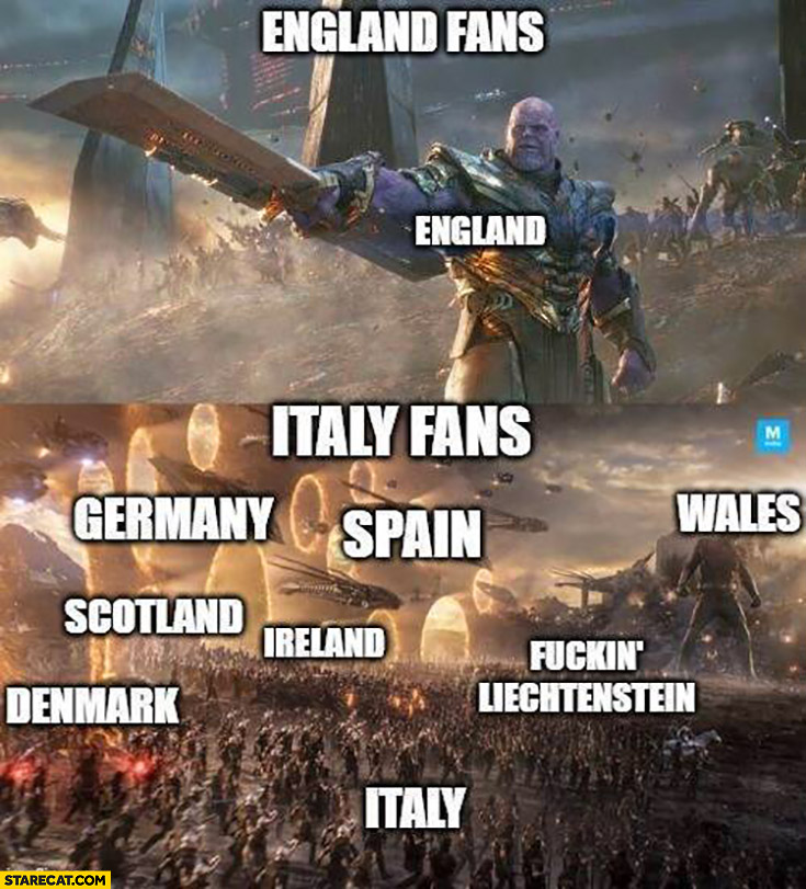 England fans England only vs Italy fans rest of Europe Euro 2020