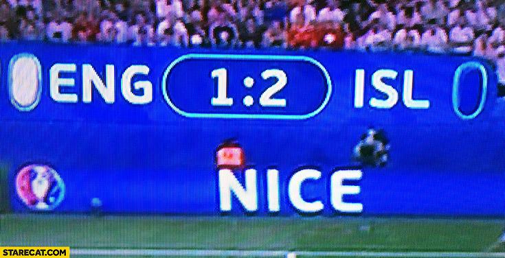 England – Iceland Euro match 1:1 NICE