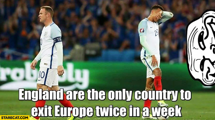 England is the only country to exit Europe twice in a week Brexit, lost Euro match quarterfinals
