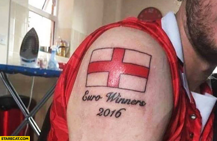 English flag Euro winners 2016 tattoo fail