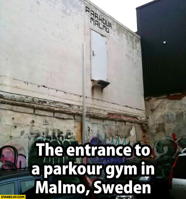 Entrance to parkour gym in Malmo, Sweden: door above the ground