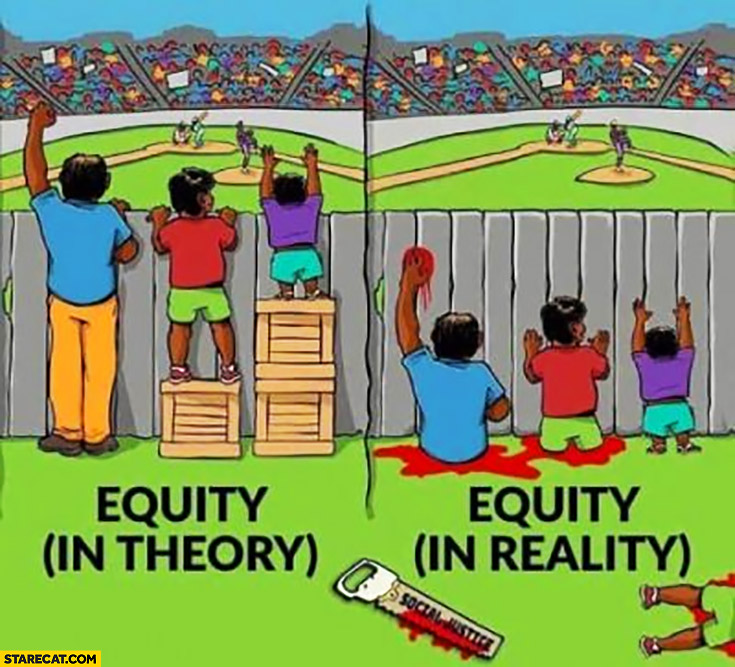Equity in theory vs equity in reality everyone got their legs cut off