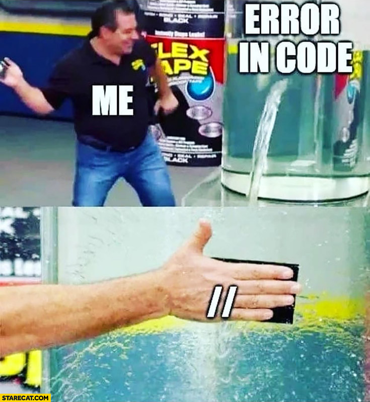 Error in the code me slaps comment mark programming