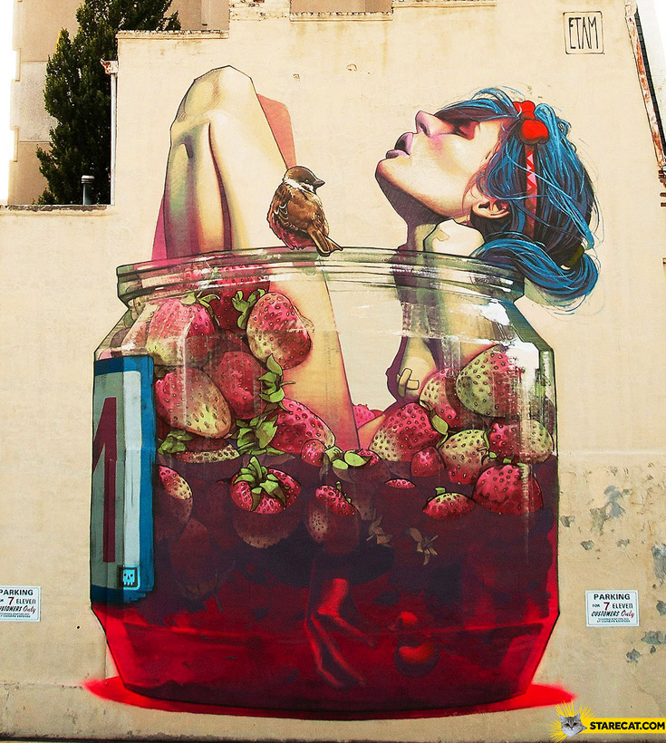 Etam cru girl in strawberries streetart
