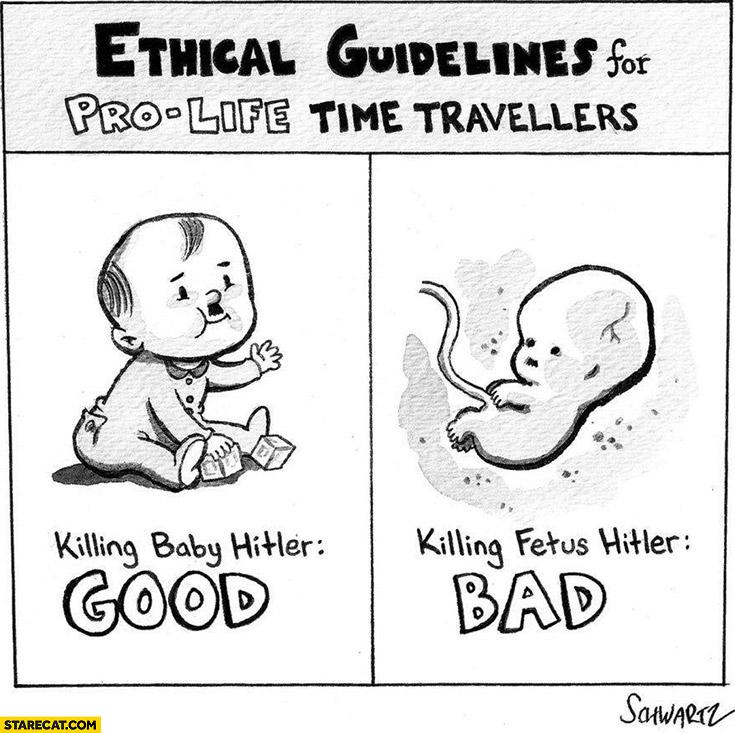 Ethical guidelines for pro life time travellers: killing baby hitler – good,  killing fetus hitler – bad