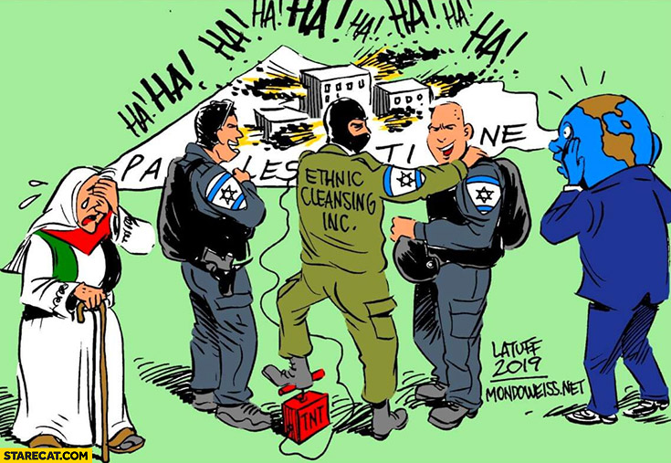 Ethnic cleansing inc Jews in Palestine drawing