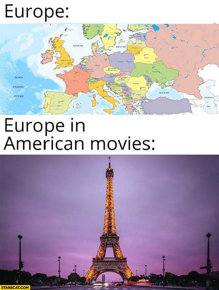 Europe map vs Europe in American movies Paris