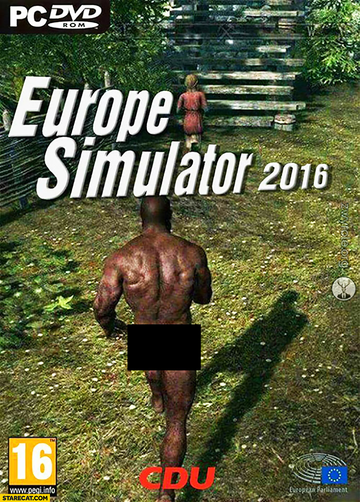 Europe Simulator 2016 computer game naked black man chasing a woman
