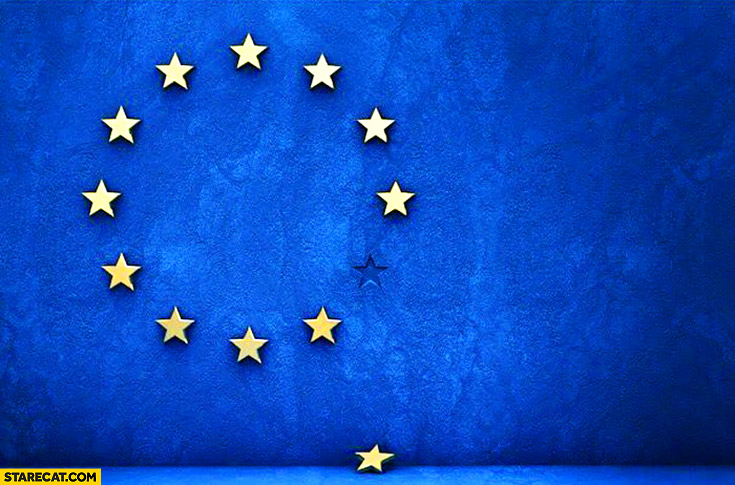 European Union flag after UK Britain left one star missing Brexit
