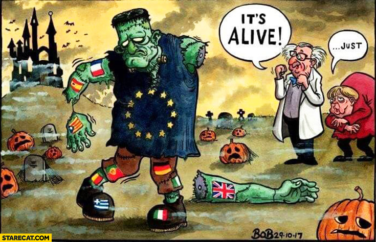 European Union it's alive Frankenstein failed experiment drawing