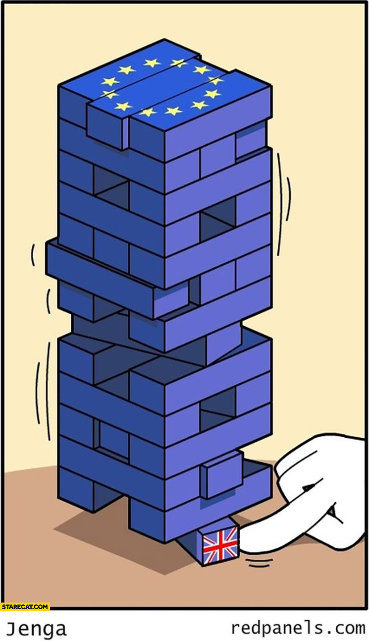 European Union jenga block with UK on the bottom about to be taken out Brexit