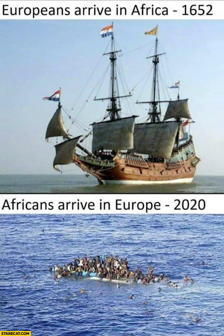 Europeans arrive in Africa in 1652 by ship vs Africans arrive in Europe 2020 comparison