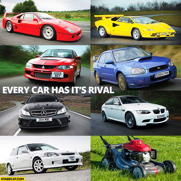 Every car has it's rival Honda lawn mower