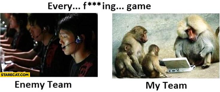 Every game enemy team koreans my team apes