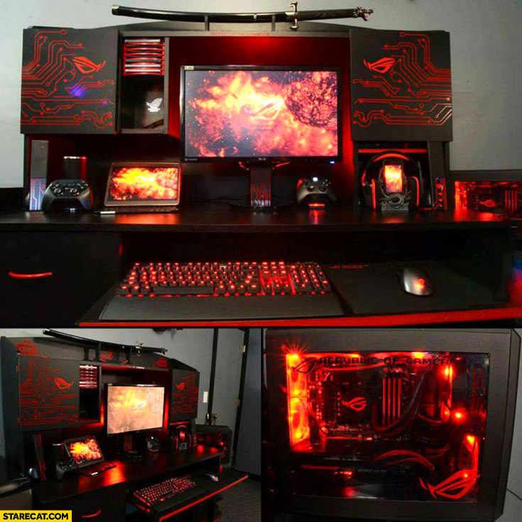 Every gamer's dream super powerful gaming computer red LEDs