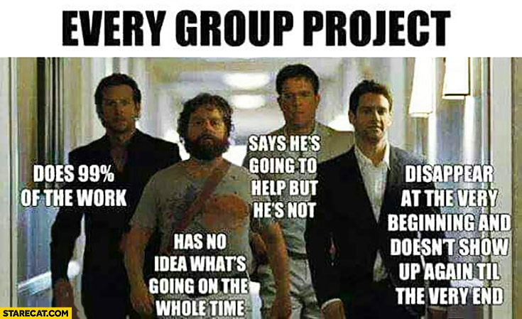 Every group project The Hangover movie: one man does 99% of the work, one has no idea what's going on, one says he's going to help but he's not, one diappears