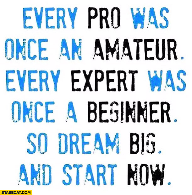 Every pro was once an amateur every expert was once a beginner so dream big and start now