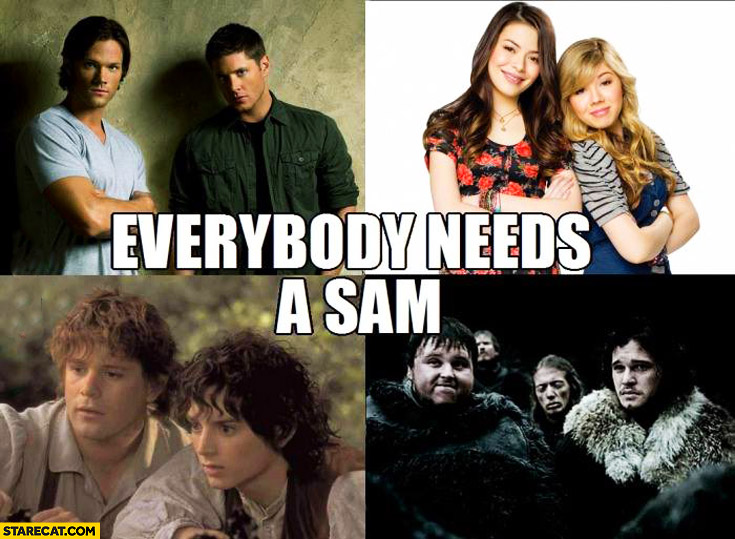 Everybody needs a Sam Game of Thrones, Lord of the Rings, Supernatural