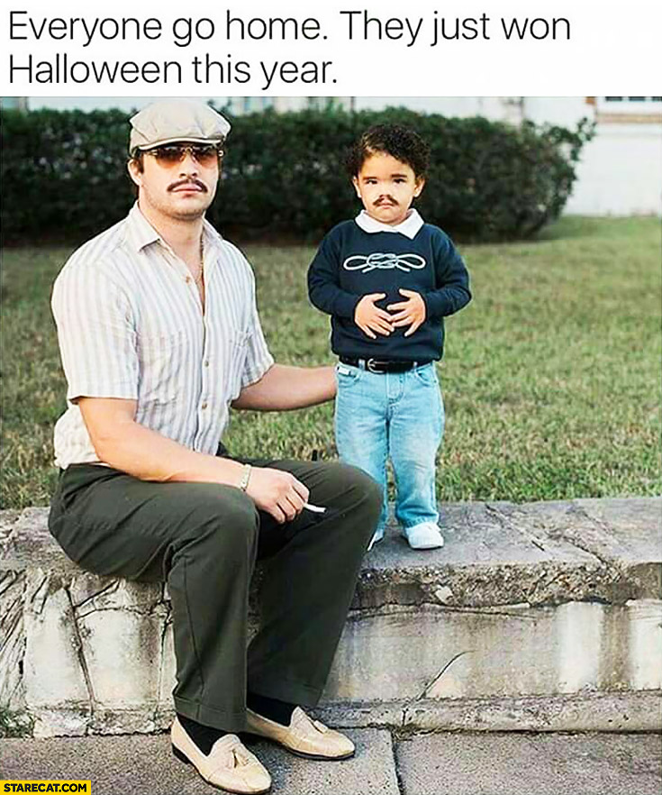 Everyone go home they just won Halloween this year. Father and a son with a moustache