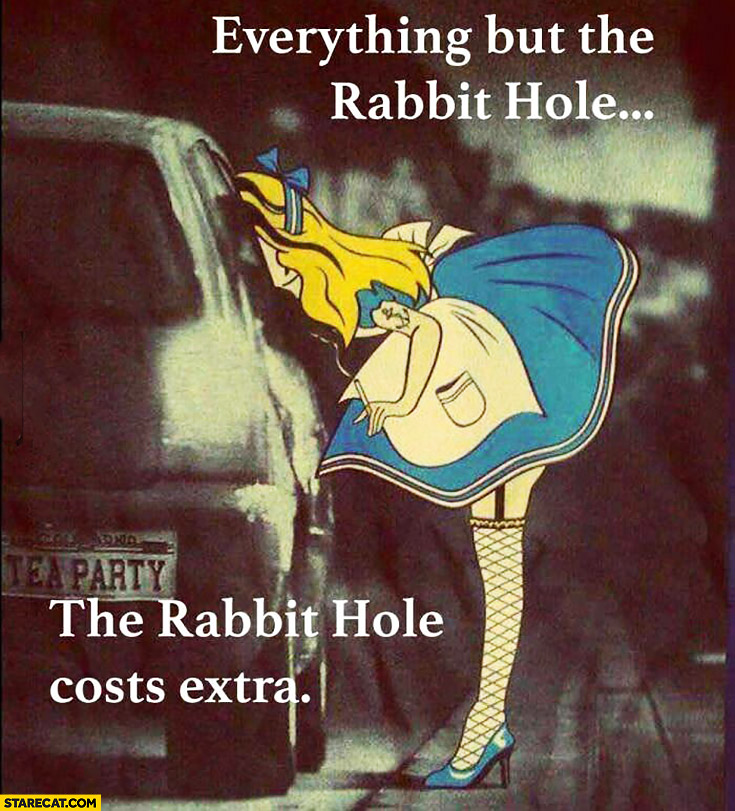 Everything but the rabbit hole, the rabbit hole costs extra. Alice from Wonderland