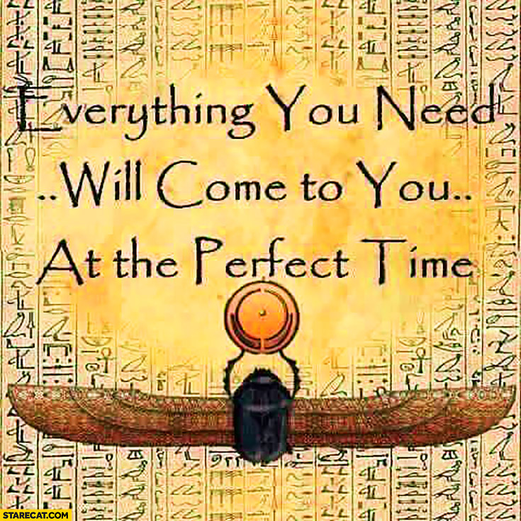 Everything you need will come to you at the perfect time. Inspiring quote