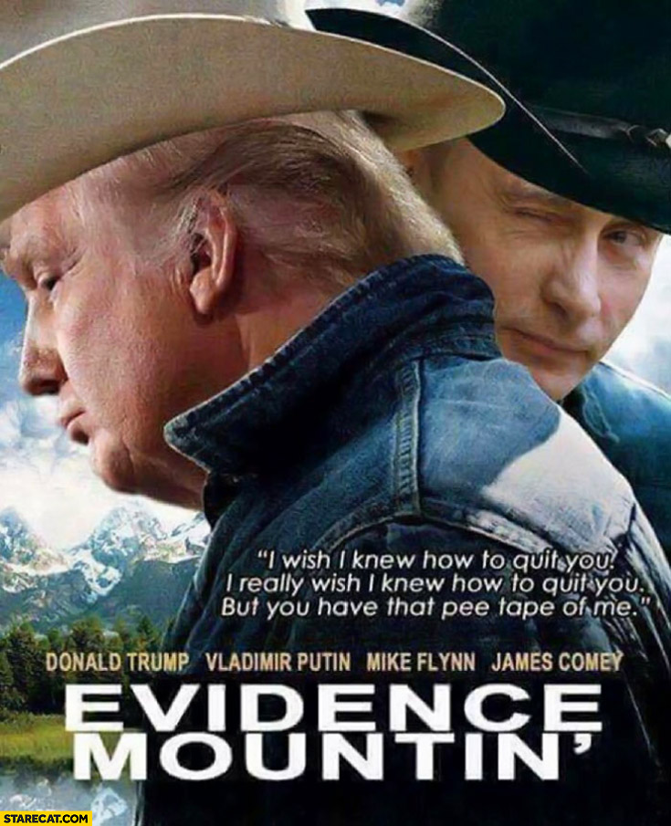 Evidence Mountin' Trump Putin brokeback mountain photoshopped