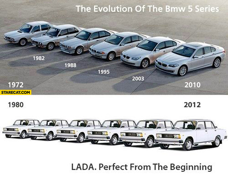 Evolution of BMW 5 Series Lada perfect from the beginning