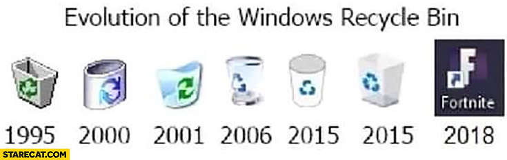 Evolution of the Windows recycle bin Fortnite icon