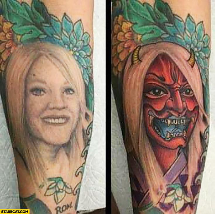 Ex girlfriend creative tattoo coverup devil
