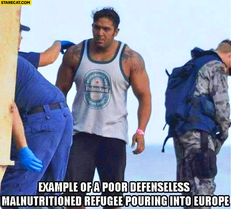 Example of a poor defenseless malnutritioned refugee pouring into Europe huge man