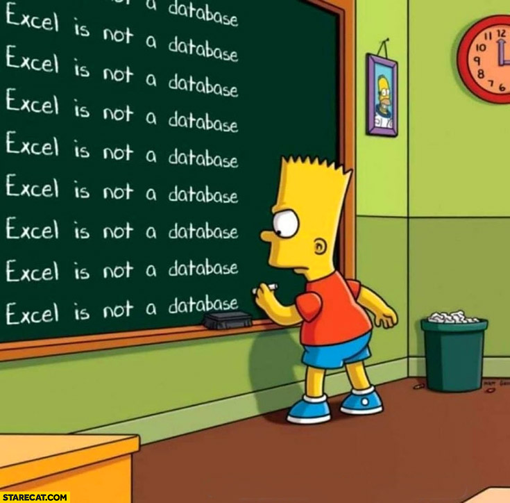 Excel is not a database Bart Simpson writing on a blackboard