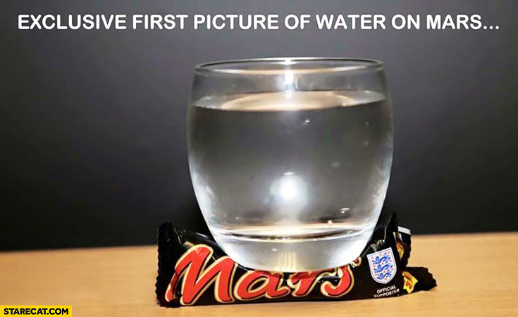 Exclusive first picture of water on mars glass of water mars bar