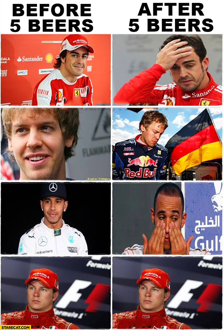 F1 drivers before 5 beers, after 5 beers comparison