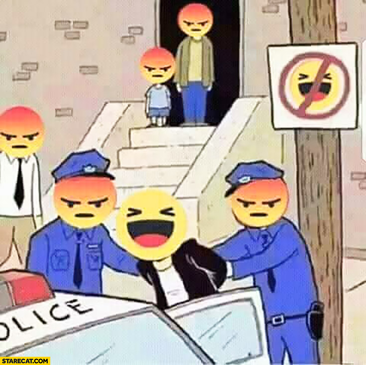 Facebook happy emoticon being arrested not allowed to be happy