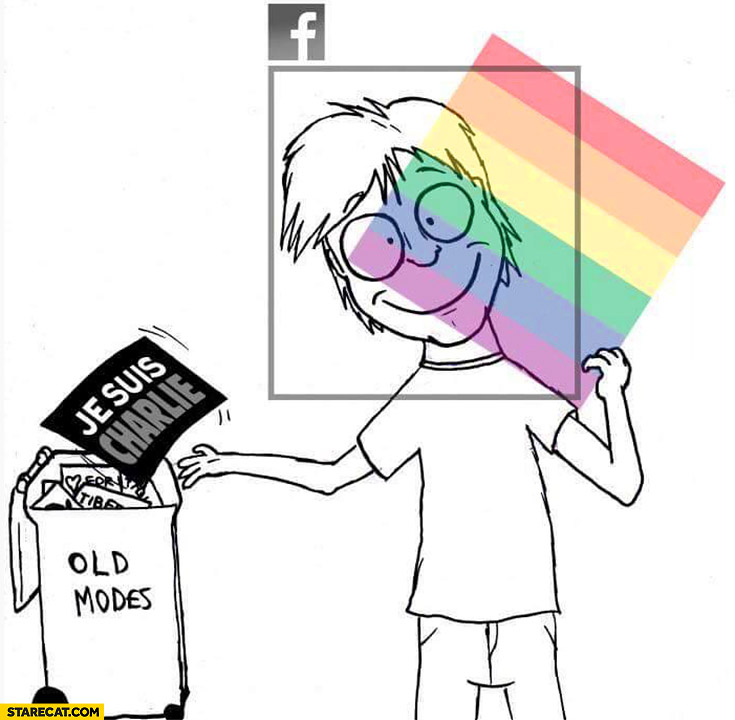 Facebook profile picture je suis Charlie rainbow