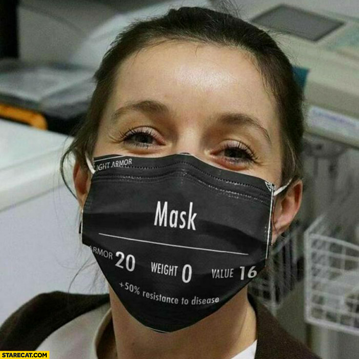 Facemask mask armor 20, weight 0, value 16, plus 50% percent resistance to disease