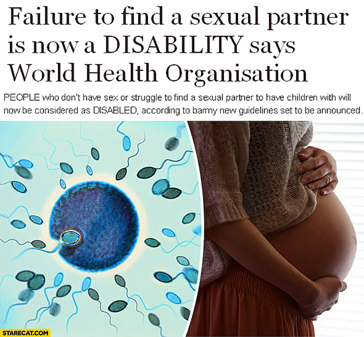 Failure to find a sexual partner is now a disability says World Health Organisation WHO