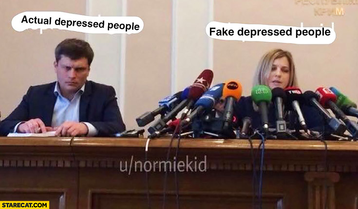 Fake depressed people vs actual depressed people microphones comparison Crimea