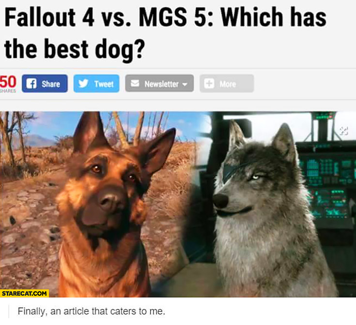 Fallout 4 vs Metal Gear Solid 5 which has the best dog? Finally an article that caters to me