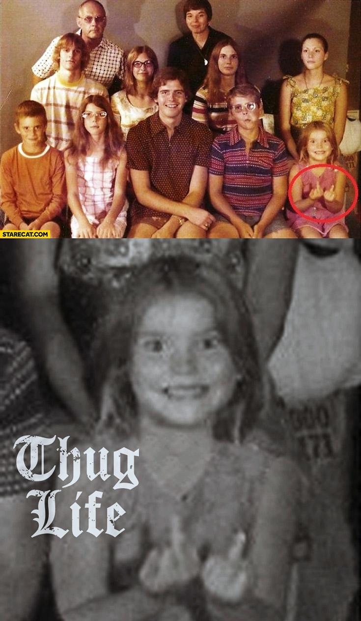 Family photo girl middle finger thug life