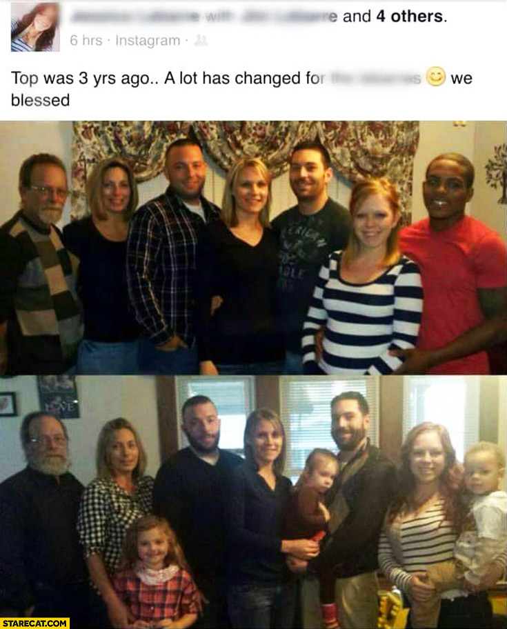 Family photos 3 years comparison black man missing