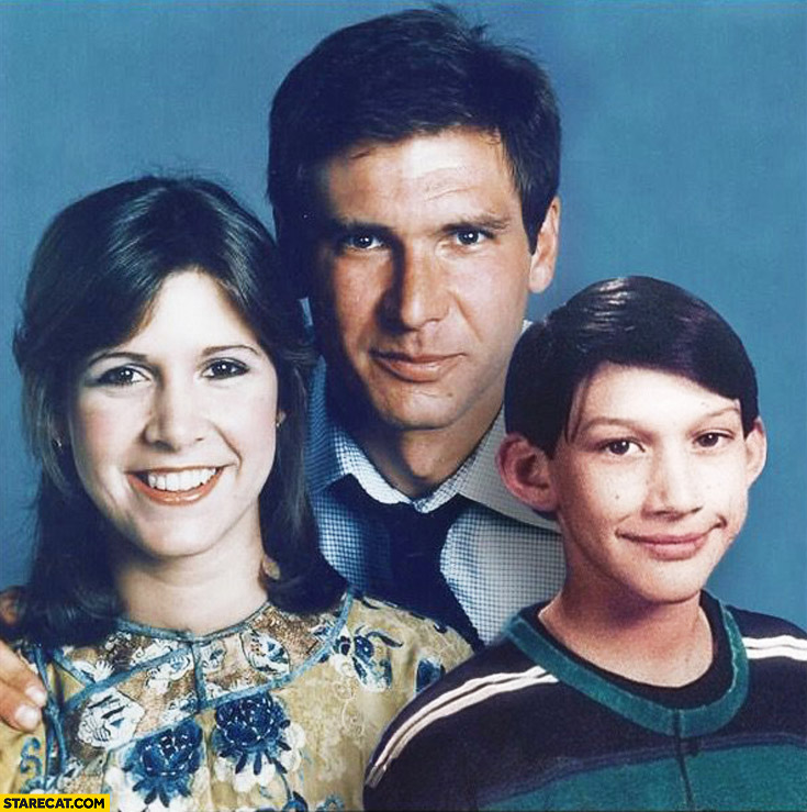 Family picture Star Wars: Han Solo, Leia, Kylo Ren kid
