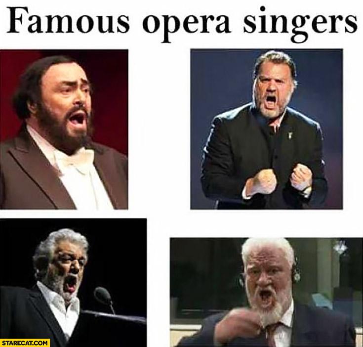 Famous opera singers Slobodan Praljak drinks poison commits suicide