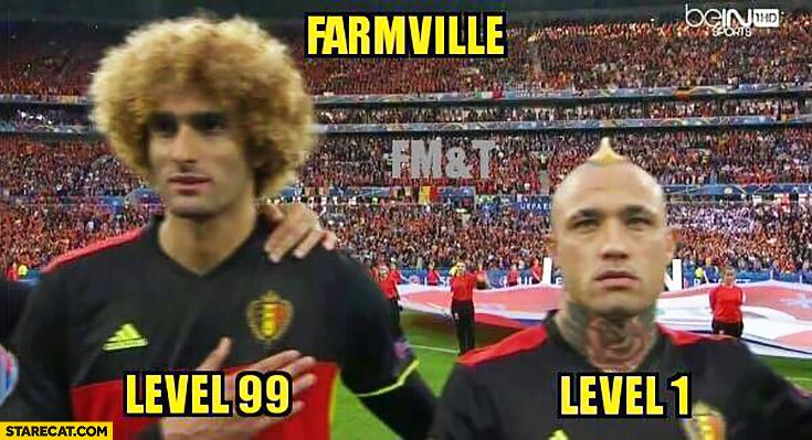 Farmville level 1 vs level 99. Footballers Belgium national team