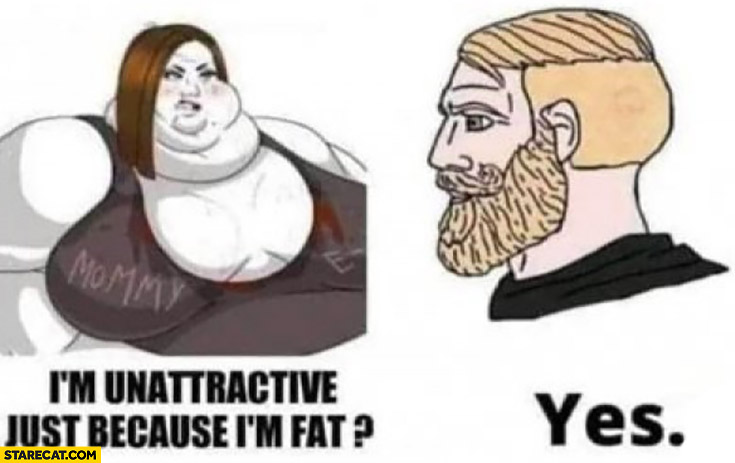 Fat girl I'm unattractive just because I'm fat? Man: yes