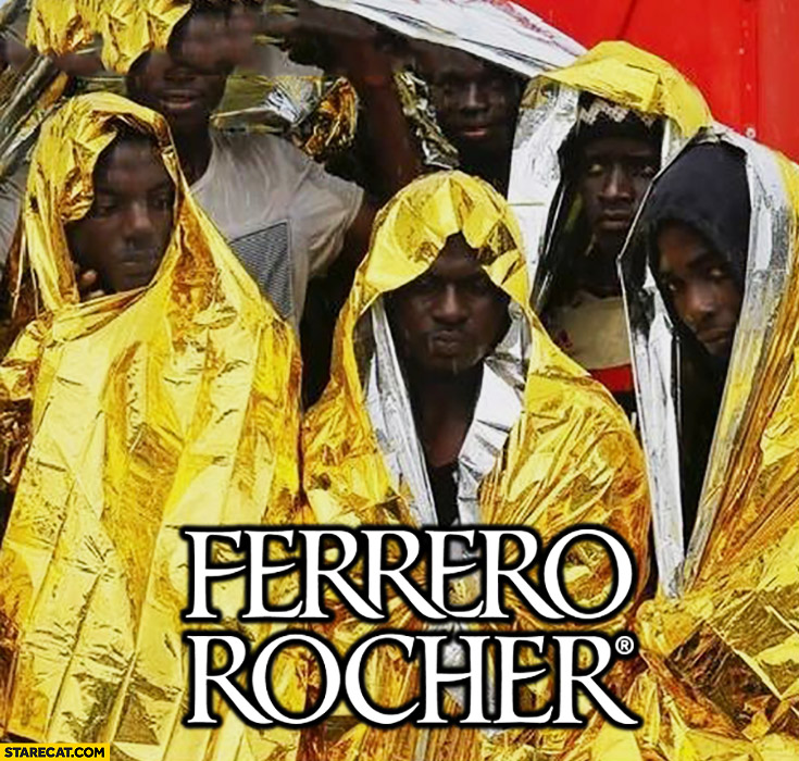 Ferrero Rocher black men wrapped in thermal blanket