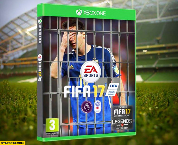 FIFA 17 game cover Messi behind the bars arrested