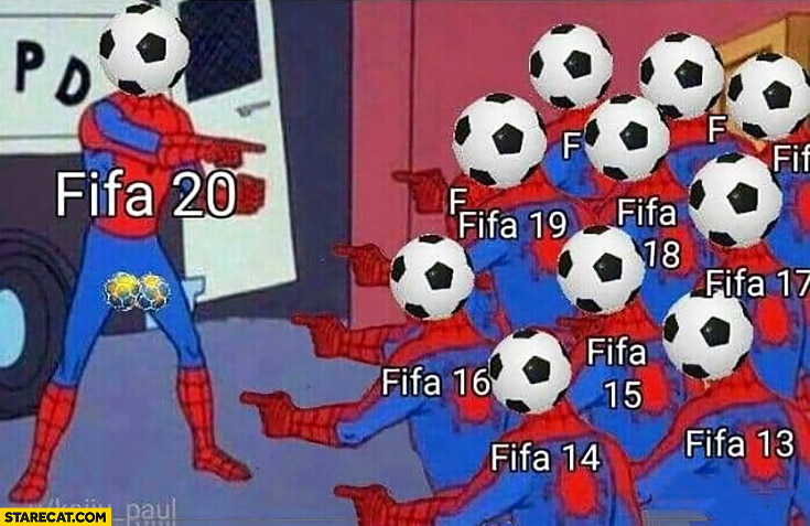 FIFA 20 pointing at older FIFAs Spiderman meme