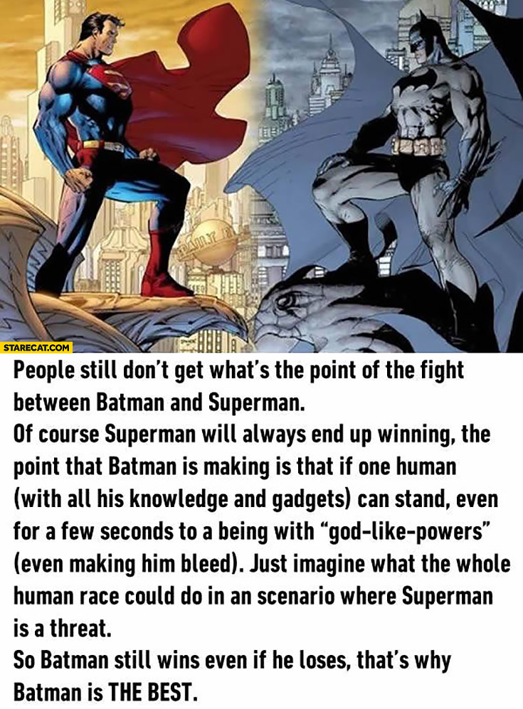 Fight between Batman and Superman – Batman still wins even if he loses