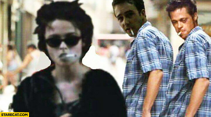Fight Club main character looking at a girl Edward Norton Brad Pitt boyfriend meme